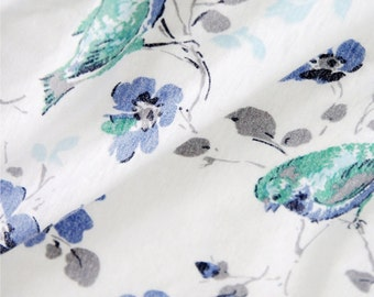 Cotton Jersey Knit Fabric Bird White By The Yard