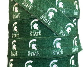 5/8 inch FOE Elastic Michigan State Spartan Ribbon, Michigan Ribbon,Spartan Ribbon,Spartan FOE, Trim, Elastic By The Yard by KC Elastic Ties
