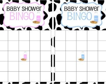 Milk & Cookies Baby Shower Bingo