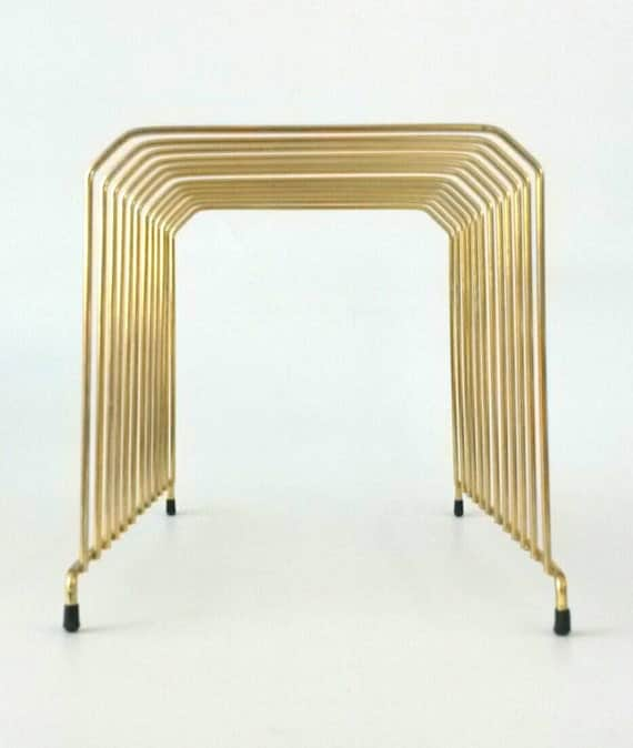 Vintage mail file holder letter sorter gold wire brass storage for Gold letter rack