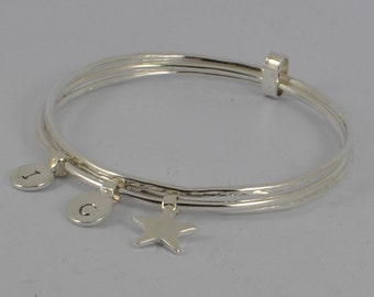 Triple Sterling Silver Initial Recycled Pebble, Heart, Star, Hammered Bangle / Bracelet - Stacking - Personalised - Handmade UK