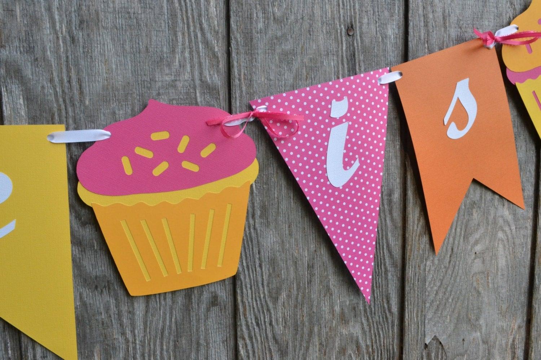 cupcake birthday banner pink yellow and orange birthday banner 1st birthday banner