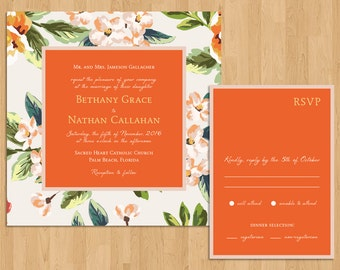 Modern Citrus & Floral Hawaiian/Tropical/Beach/Destination Wedding Invitation Set