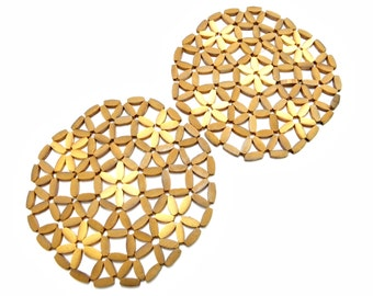 Mid-century 1960's Wooden Beaded Trivets Set of Two