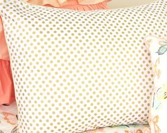 Gold Dot Pillow Sham | Metallic Gold and White Standard Pillow Sham