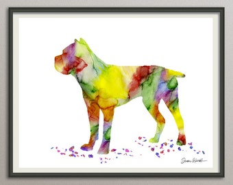 cane corso art print watercolor print silhouette painting print poster wall art decor, dog painting print