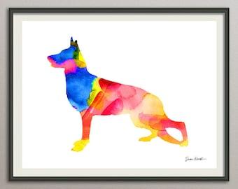 german shepherd dog art print watercolor print poster painting wall art silhouette , dog wall art