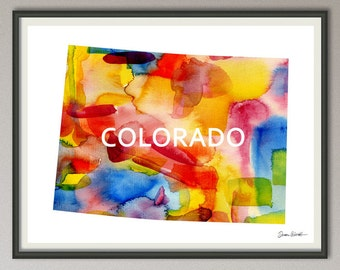 colorado state art print wall art decor poster watercolor painting, united state art print wall art