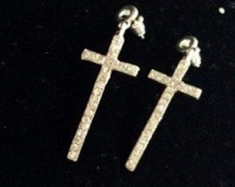 """Silver Tone Crystal Cross Dangle Earrings 2"""" Long"""