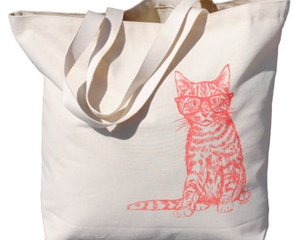Oversized Canvas Tote Bag - Screen Printed Bag - Kitty Tote Bag - Cotton Handbag - Cat Bag - Wedding Mothers Day Anniversary Gift