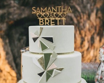 Custom Laser Cut Cake Topper, Rustic Wood Design with Couple's Names and Hearts