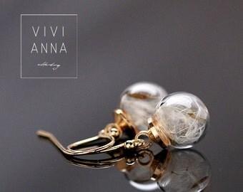 Dandelion in gold plated earrings (E285)