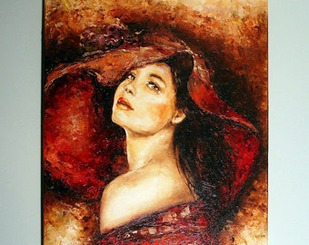 The elegant woman in a hat. Oil painting on canvas.