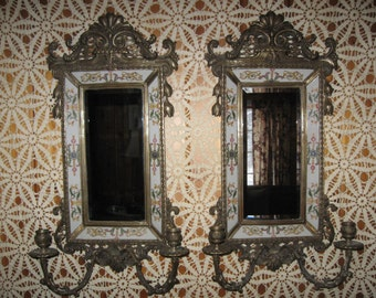 LARGE,ANTIQUE pair of French Brass/Porcelain wall sconces...Very Elegant...