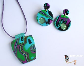 Set of abstract multicolored necklace and earrings. UNICO.