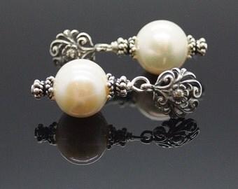 Freshwater Pearl Drop Sterling Silver Earrings
