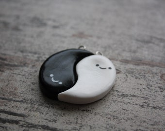 Ghostly Yin Yang Friendship Charms / Halloween /Clay