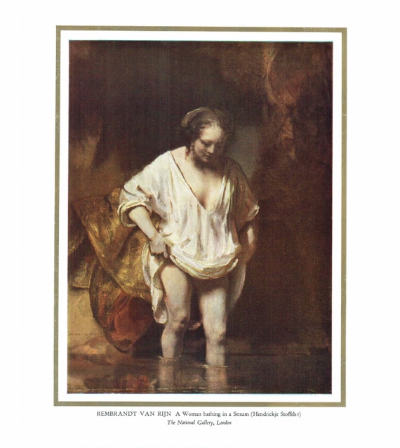 1950s print of painting by Rembrandt Van Rijn, Woman bathing in a stream, painted 17th century, 13 x 10.5 inches