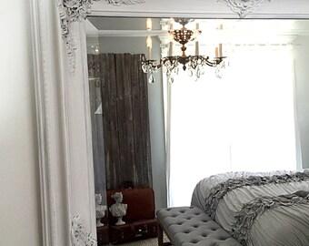 Large Antique Mirror, White Shabby Chic Mirror, Large Leaning Mirror, Distressed Mirror, Large Wall Decor, Bathroom Mirror, Bedroom Decor