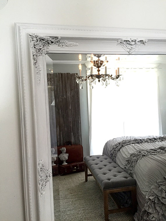Large vintage leaning mirror wall hanging baroque mirror for Leaning wall mirror