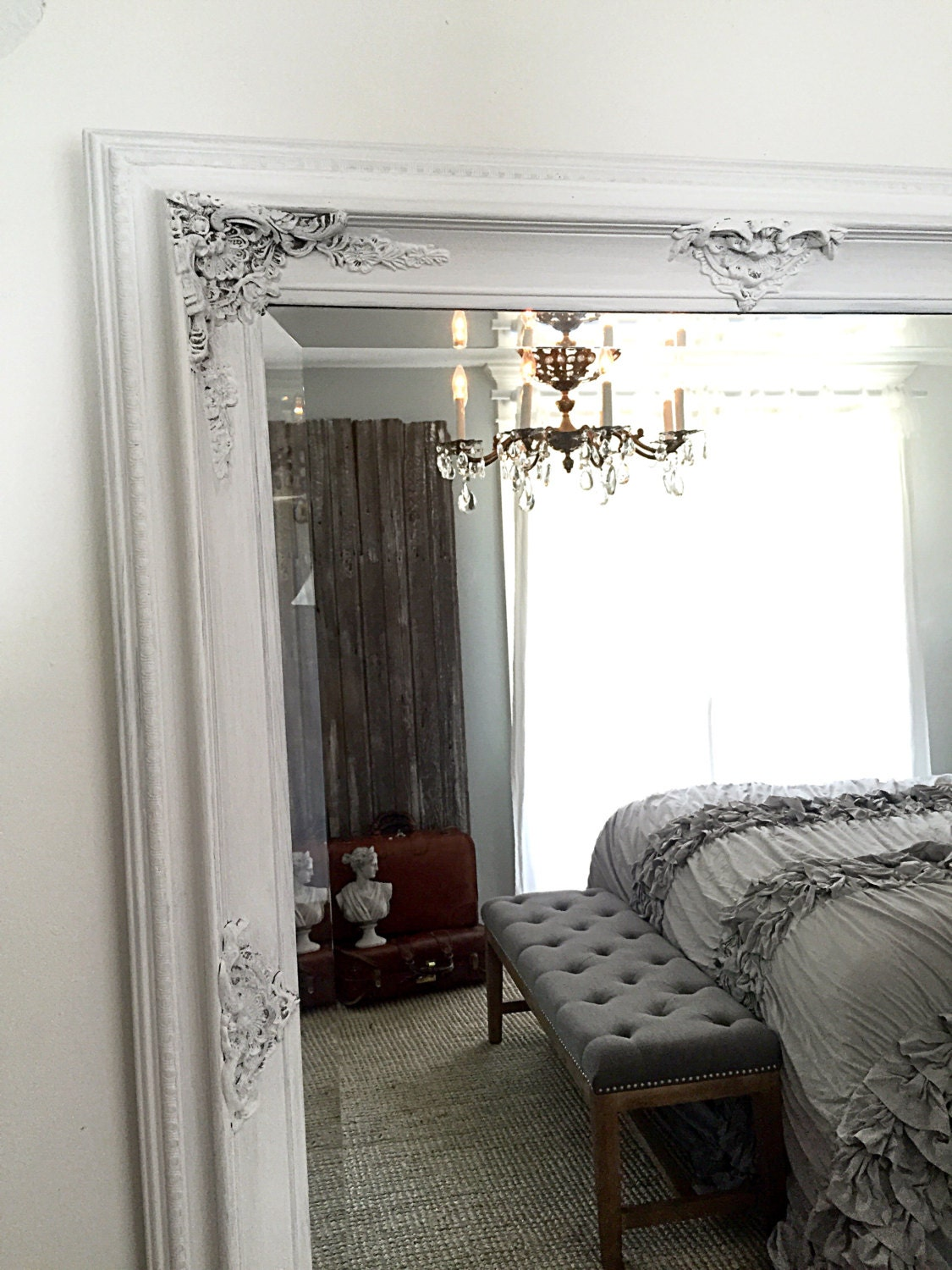Large vintage leaning mirror wall hanging baroque mirror for Baroque leaner mirror