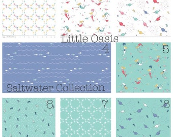 Little Oasis Custom Saltwater Collection. Choose one item or a bedding set; crib sheet, changing cover, skirt, pillow, curtain.