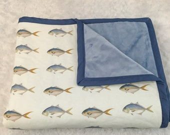Nautical fish baby blanket with minky back makes this baby's favorite blanket!