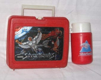 vintage 1986 thermos silverhawks lunchbox and thermos