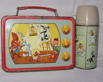 vintage 1959 the american thermos products company looney tunes metal lunchbox and thermos