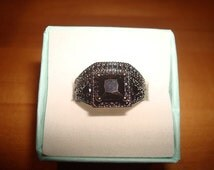 Square Cut And Diamond Cut Black Onyx 10kt Black GF Engagement Wedding Ring Set Size 9