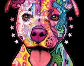 T-Shirt: Pitbull Terrier- Dean Russo Art on solid color