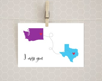 STATE TO STATE I Miss You card