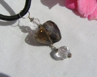 Smoky Quartz and quartz pendant with 925 silver