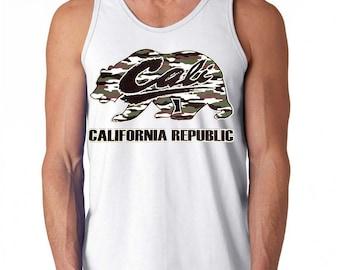 Men's  California Republic Camo Bear Tank Top all size XS-3XL White