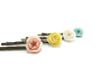 Multicolor  Bobby Pins Garden Flower Hair Pins Resin Rose Hair Accessories Set of 4  Multi Color Floral Bobby Pin Bridesmades Gift