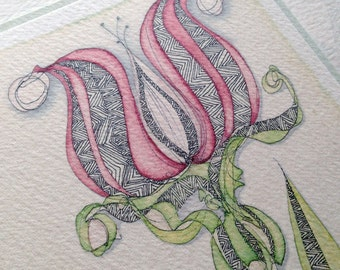 Pink Lotus, Watercolour Print