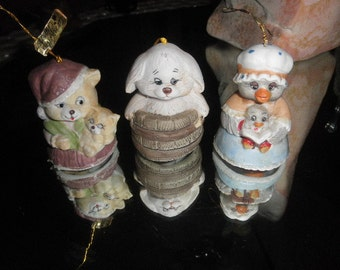 Bisque Porcelain Chimers Handpainted Caring Critters