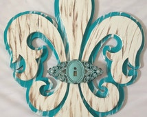 IN STOCK! Large Hand Painted Fleur de Lis Home Decor with Metal Embellishment - Handmade Home Decor - Fleur de Lis - Hand Painted Home Decor