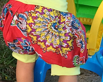Fun printed cotton baby bubble shorts// red and green// made to order