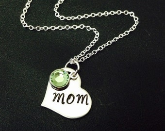Personalized Mom Birthstone Necklace - Hand Stamped Stainless Steel - Necklace - Mom Heart Necklace - Mom Jewelry - Mother's Day