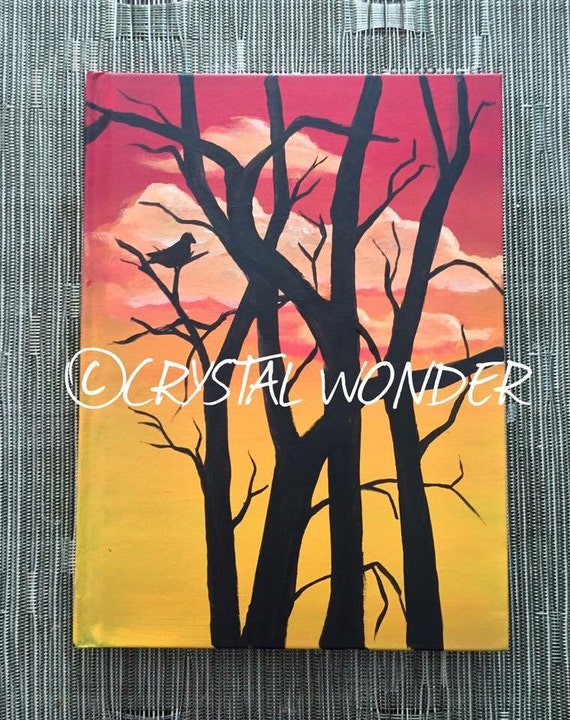 Hand-Painted Journal - Sunset Silhouette