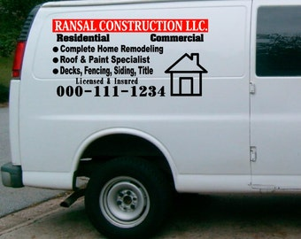 Van Truck Custom Vinyl Lettering Business Signs Vehicles - Vehicle decals for business application