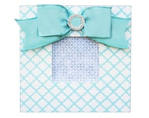 aqua trellis embellished picture frame- moroccan pattern frame- aqua frame- rhinestone embellished photo frame