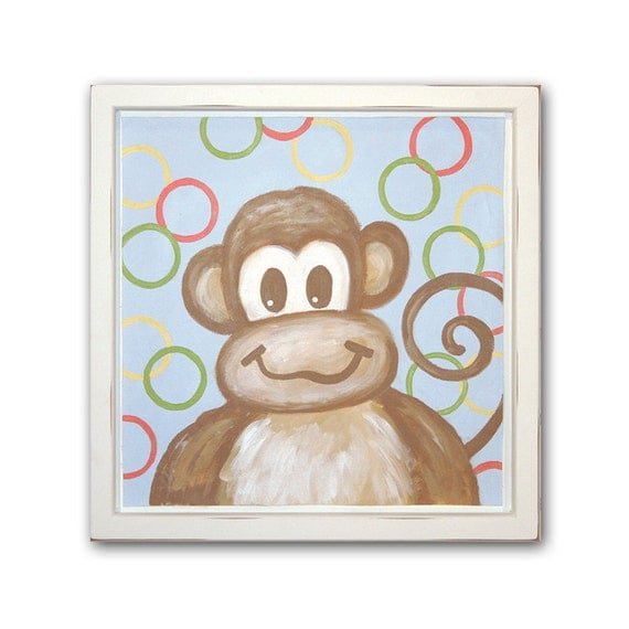Monkey print animal wall decor neutral nursery baby animals for Animal bathroom decor