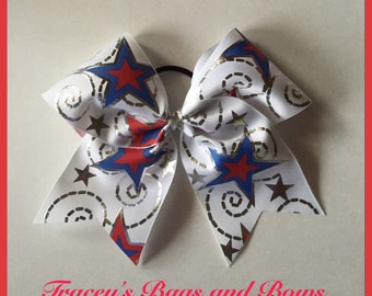 Practice Bows~Cheer Bow~Softball Bow~4rth ofJuly red, white and Blue Stars