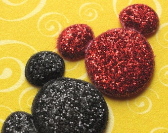 6 red and black glitter padded Mickey Mouse appliques (3 red, 3 black) - bow centers