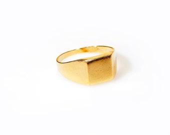 Gold  square signet ring, gold filled ring, signet ring, statement gold ring.
