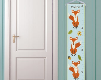 """Personalized """"Woodland Fox"""" Growth Chart in Blue"""