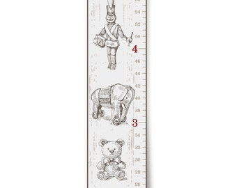 """Personalized Growth Chart """"Vintage Toys in White"""""""