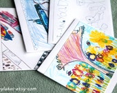 BUY 3, GET 1 FREE Blank Greeting Cards Stationary Colorful Color Pencil Marker Crayon Sketch Drawing Print by 7 Year Old Boy ArtByLukas